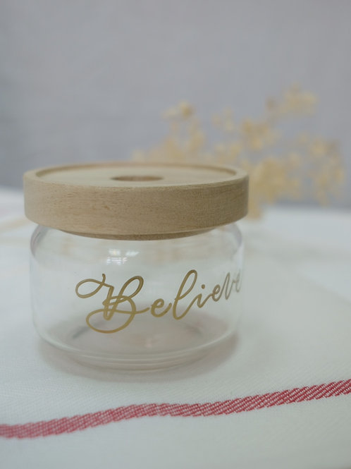 glass jar with personalised calligraphy