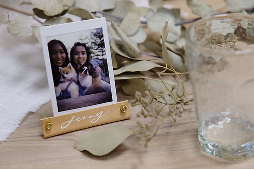 handmade leather instant photo holder place card