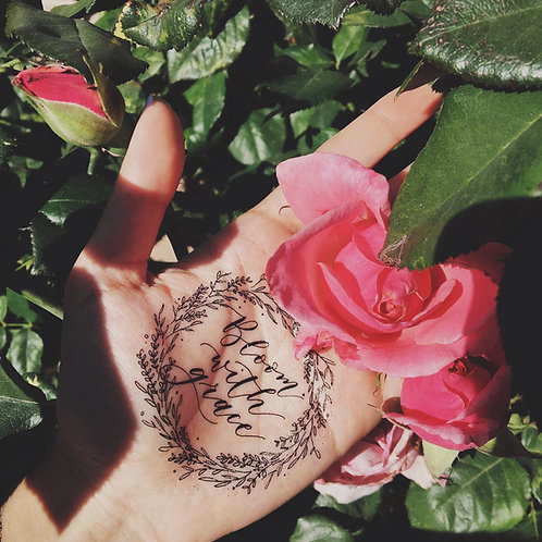 "cottontatt ""Bloom with grace"" calligraphy temporary tattoo sticker"