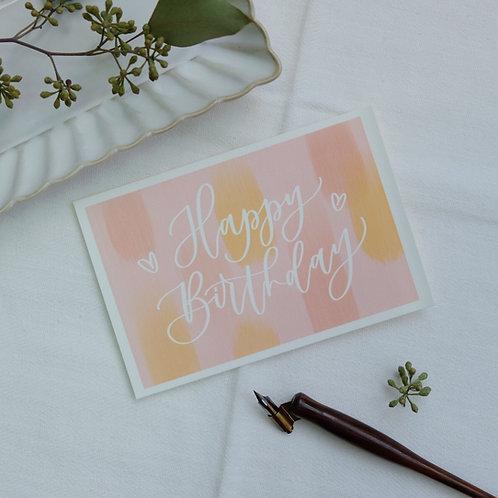 """Happy Birthday"" calligraphy pink watercolour style birthday postcard"