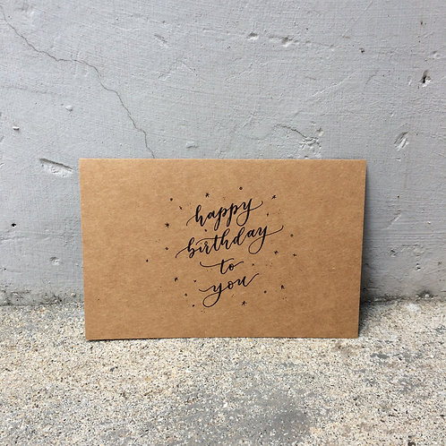 "cottontail ""happy birthday to you"" calligraphy message card"