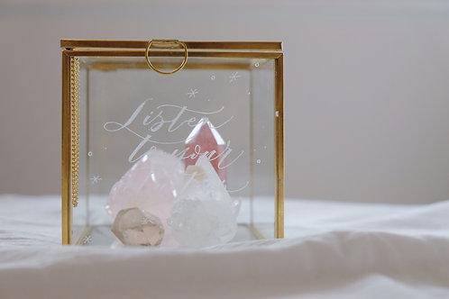 calligraphy engraved glass crystal display box