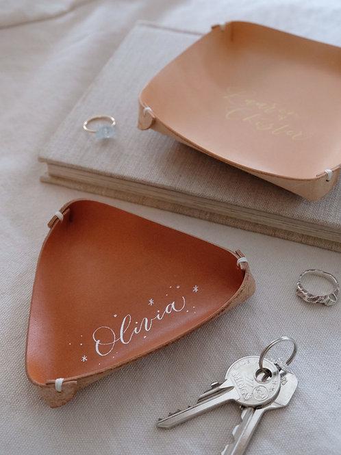 handmade leather jewellery tray