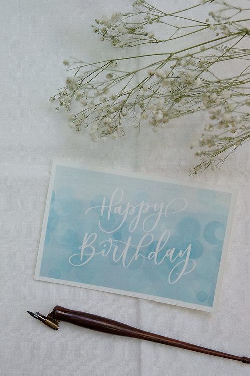 """Happy Birthday"" calligraphy blue watercolour style birthday postcard"