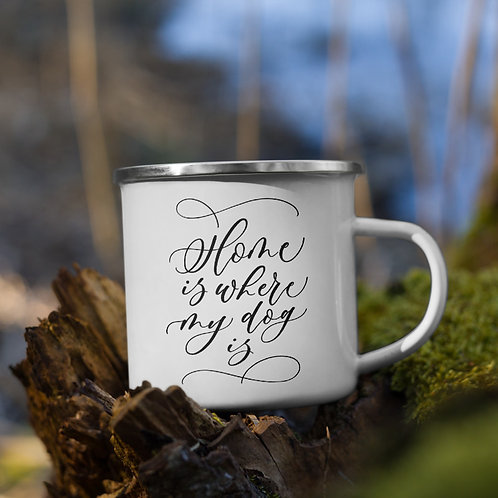 """Home is where my dog is"" enamel mug - classic black"