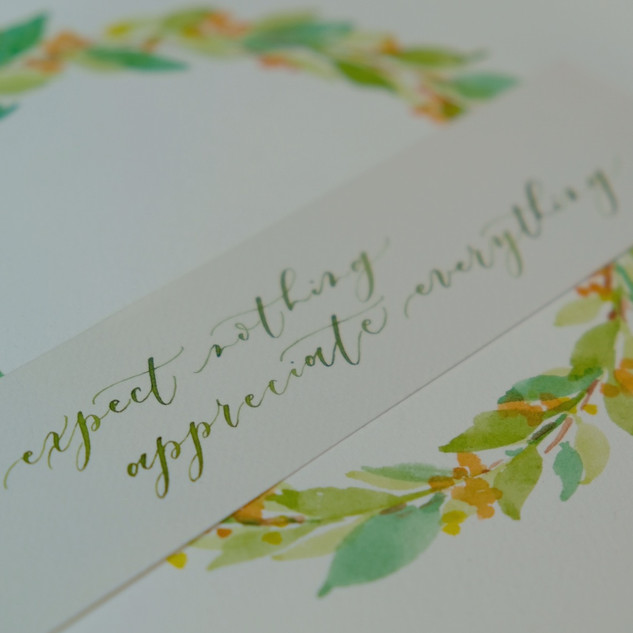 calligraphy with watercolour wreath
