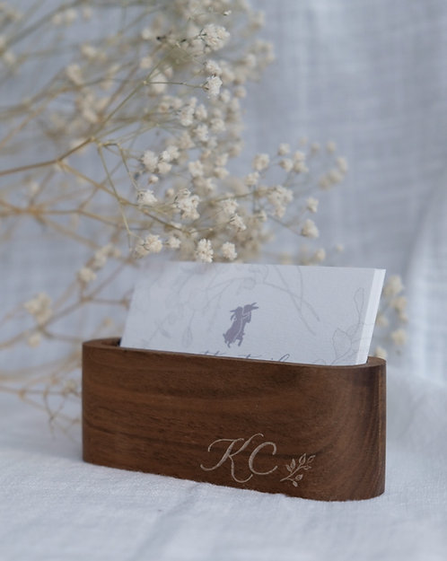 wood name card holder with personalised calligraphy engraving