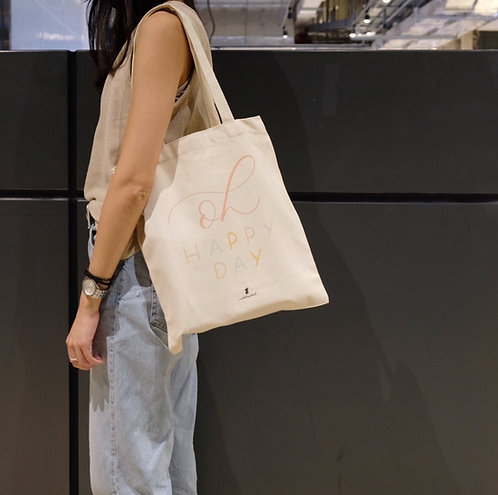 calligraphy tote bag - Oh happy day