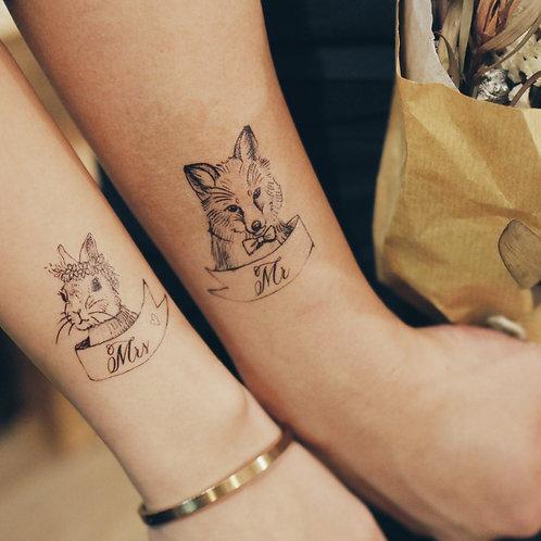cottontatt mr fox mrs bunny illustration x calligraphy temporary tattoo stickers