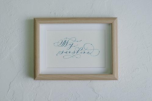 framed custom calligraphy art - oak