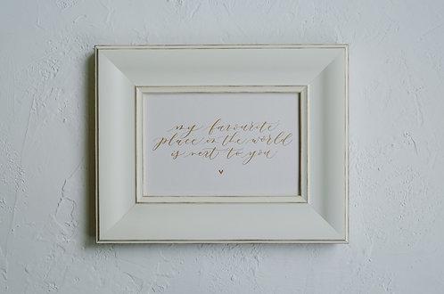 framed custom calligraphy art - vintage