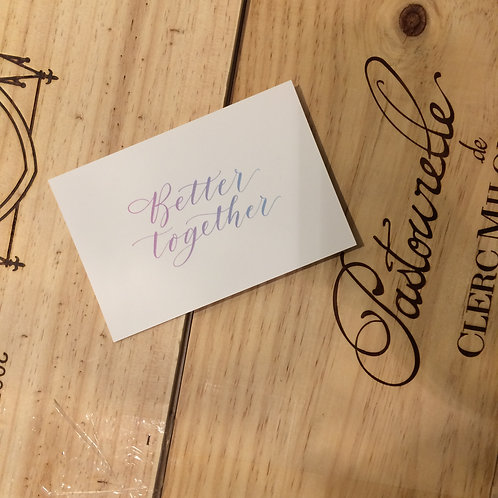 "cottontail ""Better together"" calligraphy message card"