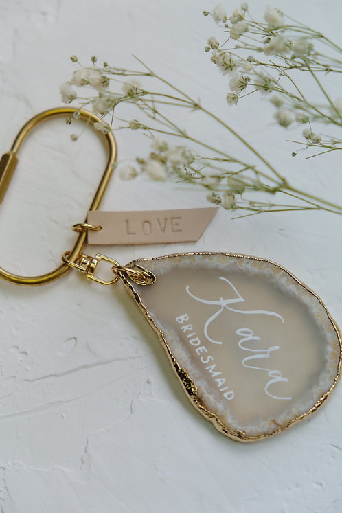 agate keychain with personalised calligraphy