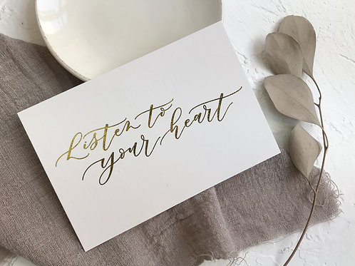 """cottontail """"Listen to your heart"""" gold foiled calligraphy message card"""