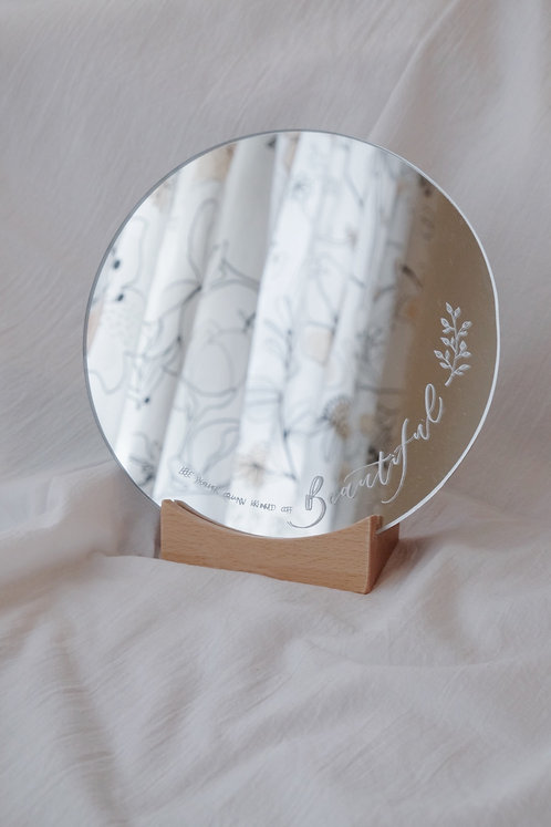 desk makeup mirror with personalised calligraphy