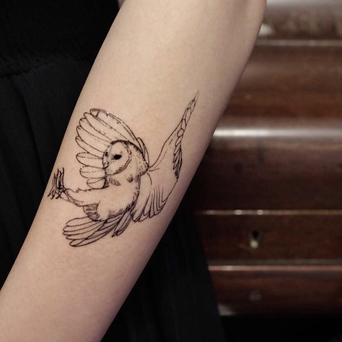 cottontatt owl illustration temporary tattoo sticker