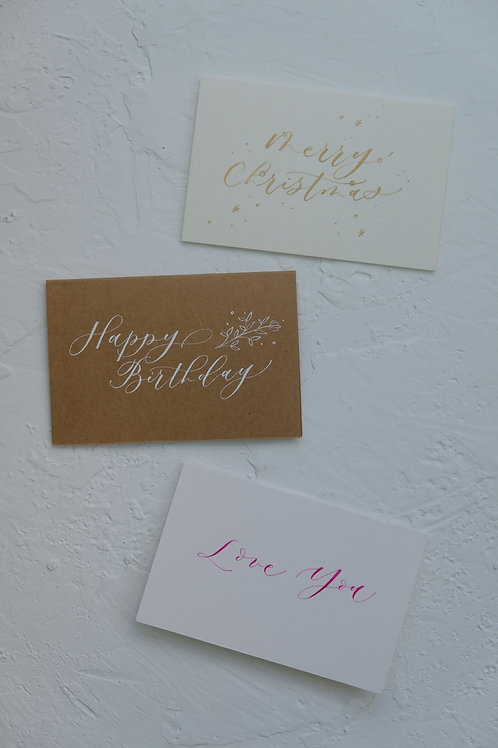 custom calligraphy card