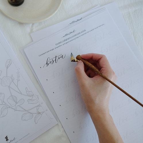 modern calligraphy workbook - lowercase