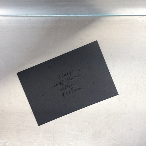 "cottontail ""stars cant shine without darkness"" calligraphy message card"