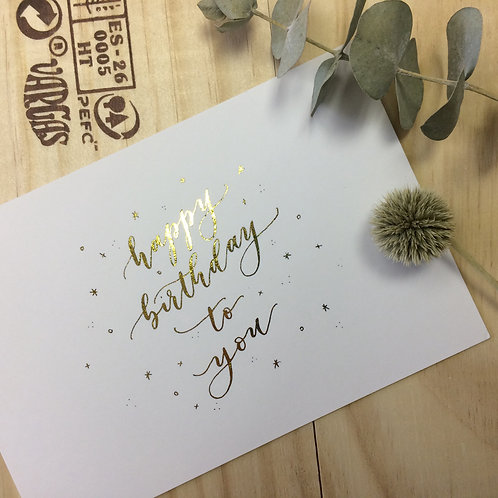 """cottontail """"happy birthday to you"""" gold foiled calligraphy message card"""