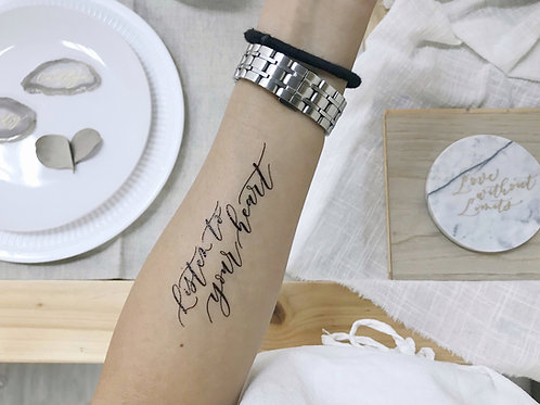 "cottontatt ""Listen to your heart"" calligraphy temporary tattoo sticker"