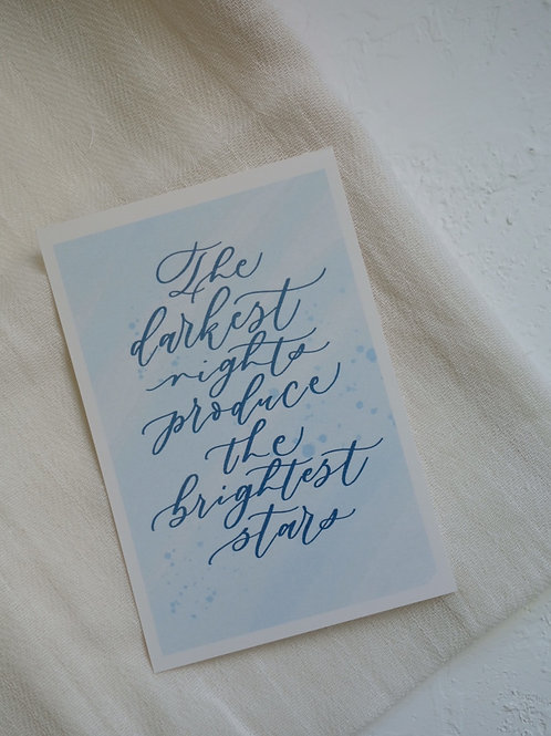 "cottontail ""The darkest nights produce the brightest stars"" message card"