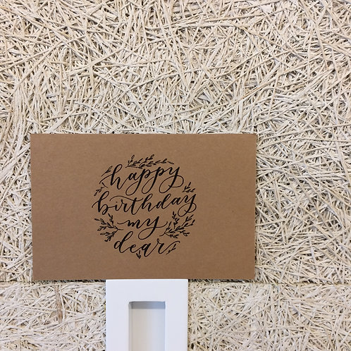 "cottontail ""happy birthday my dear"" calligraphy message card"