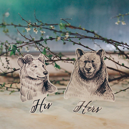 cottontatt his & hers bear illustration x calligraphy temporary tattoo stickers