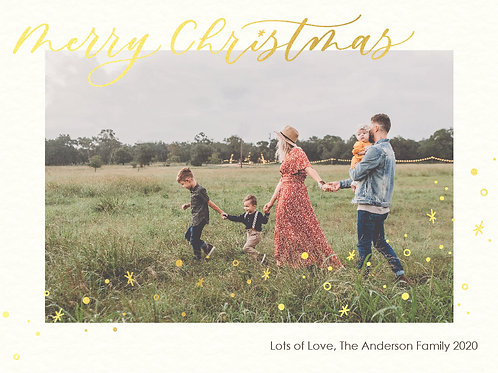 personalised digital photo christmas card - starry