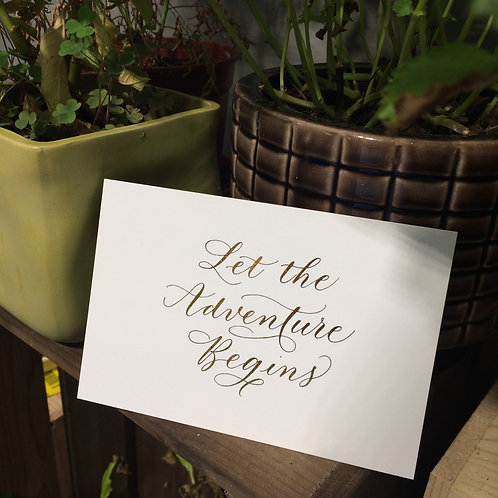 """cottontail """"Let the Adventure Begins"""" gold foiled calligraphy message card"""