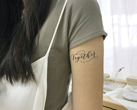 "cottontatt ""Together"" calligraphy temporary tattoo sticker"