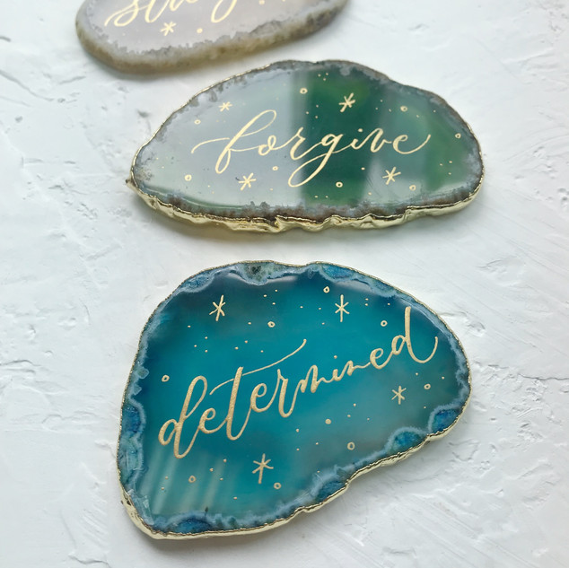 agates with calligraphy