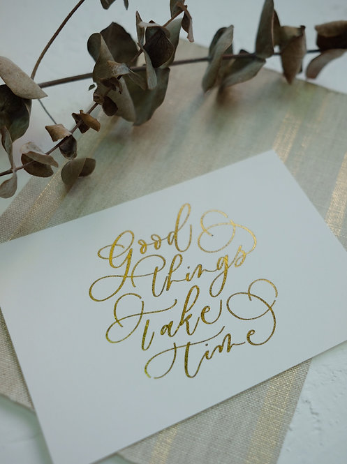 """cottontail """"Good things take time"""" gold foiled calligraphy message card"""