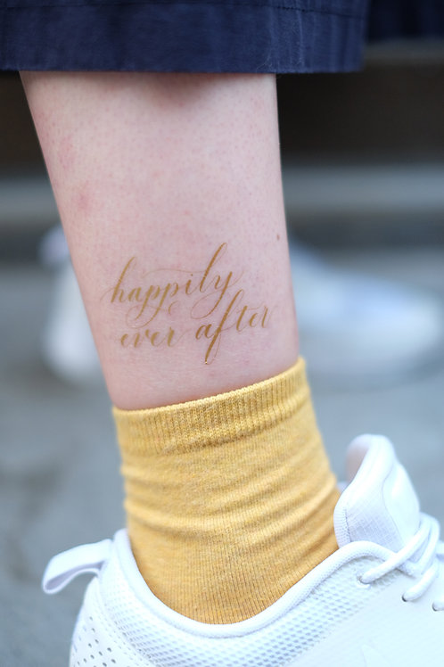 "cottontatt ""happily ever after"" calligraphy temporary tattoo sticker"