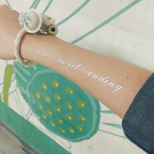 "cottontatt ""a sweet ending"" calligraphy temporary tattoo sticker"