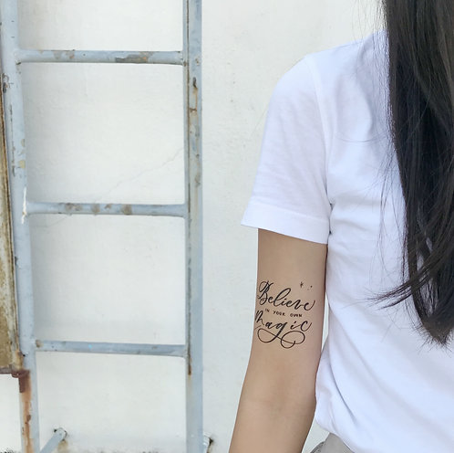"""cottontatt """"Believe in your own magic"""" calligraphy temporary tattoo sticker"""