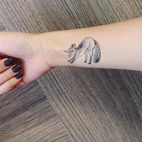 "cottontatt ""woollie & tutu"" yawning fox illustration temporary tattoo sticker"