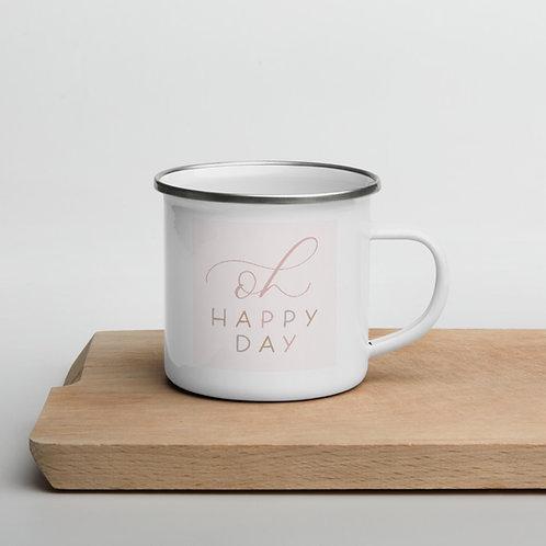 """oh happy day"" enamel mug - marshmallow"