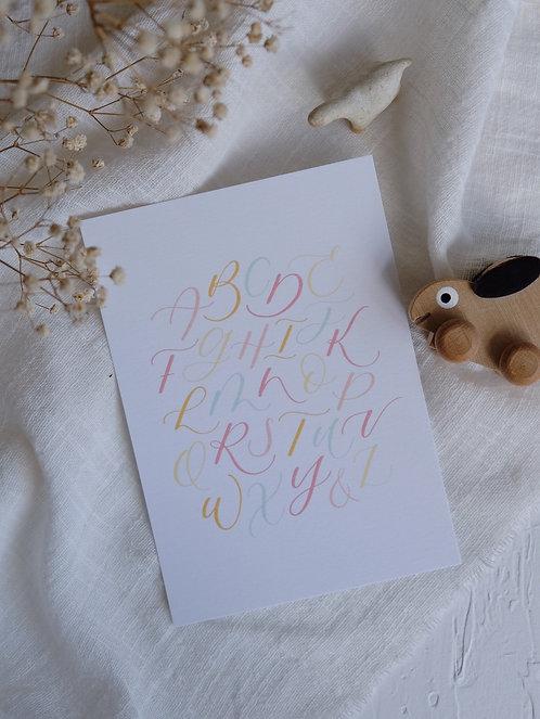 """ABC"" calligraphy alphabets postcard"