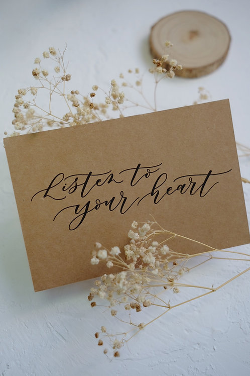 """cottontail """"Listen to your heart"""" calligraphy message card"""