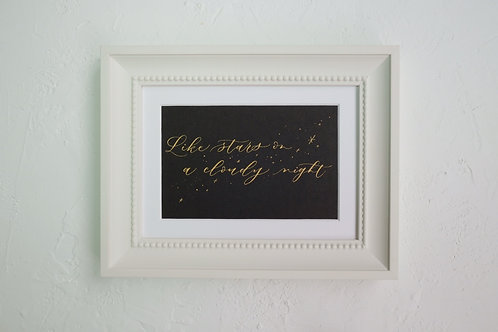 framed custom calligraphy art - cute