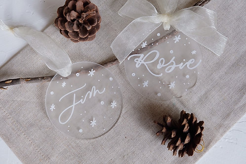 personalised calligraphy christmas ornaments