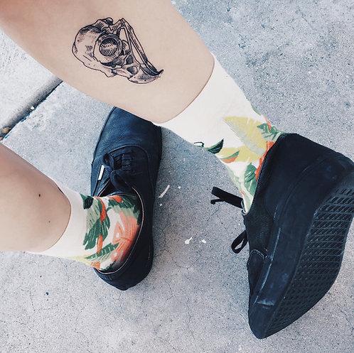 """cottontatt """"bird skull"""" illustration temporary tattoo sticker"""