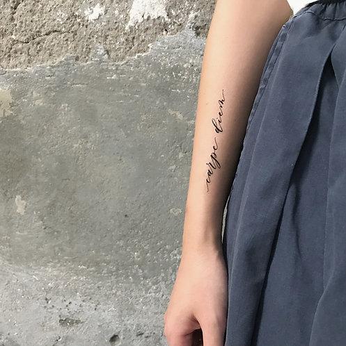 "cottontatt ""carpe diem"" calligraphy temporary tattoo sticker"