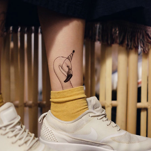 cottontatt party flamingo illustration temporary tattoo sticker