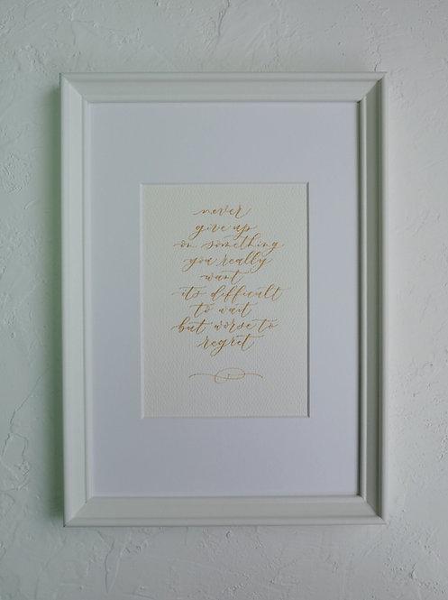 framed custom calligraphy art - soft