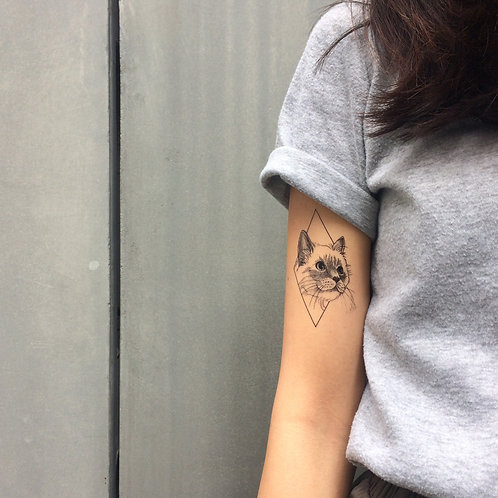 cottontatt cat geometric illustration temporary tattoo sticker