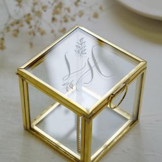 mini engraved glass jewellery box