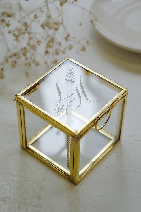 mini engraved initials glass jewellery box