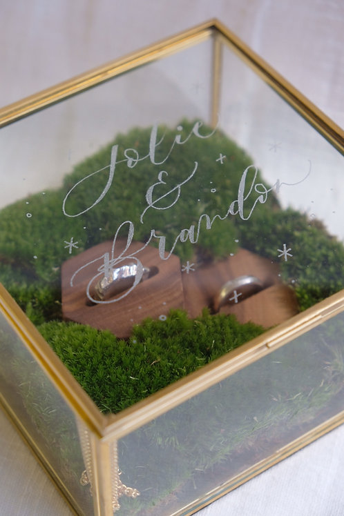 mossy calligraphy engraved glass jewellery box